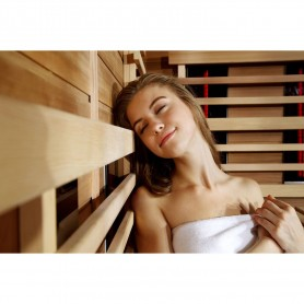 Sauna Infrared for 3-4 pers. Sunway Left Infra-sauna for 3 personsSize: 1600 x 1120 x 1980 mmWood: HemlockVärmesys