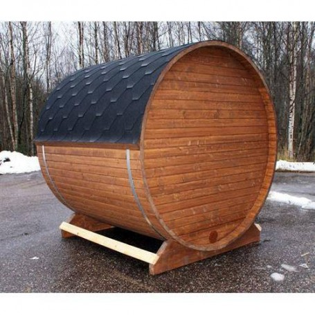Outgoing products Wood-fired sauna barrel fir 2.3 m unmounted