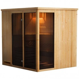 Straight sauna model with 2 side glass Every straight model with 2 side glass 5 pers Outer dimensions: Length: 1940 mmHeight: 19