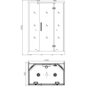 Shower cabin Infrared InfraDusch Eco Line 2 persons Exterior dimensions.Length: 1450 mmHeight: 2150 mmWidth: 900 mmSold out !. p