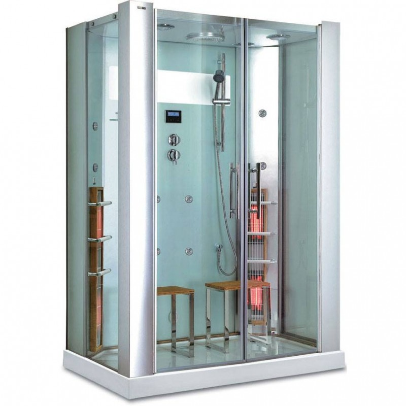 Shower cubicle Infrared InfraShower Aqua Silver 2 persons Outside dimensions.Length: 1450mmHeight: 2150mmWidth: 900mmSold out !.