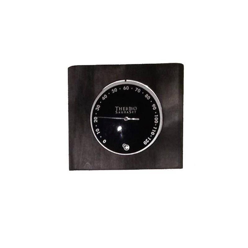 Thermo and hygrometer Hygrometer in black-glazed birch