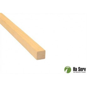 Wooden moldings for sauna 21x21 Square strip, round corners in aspen. Length: 2.4 m