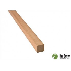 Wooden moldings for sauna 21x21 Square strip, round corners in heat treated aspen. 2.4 m