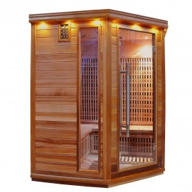 Home Sauna Apollon Tourmaline Corner Cedar Outside dimensions: Length: 1500 mm excluding roof rail Height: 1900 mm Width: 1500 m