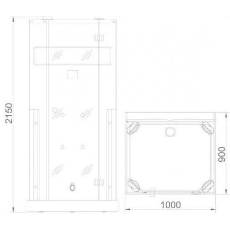 Shower cubicle Infrared InfraDusch Medley straight model Exterior dimensions.Length: 1000mmHeight: 2150mmDepth: 900mmSold out !.