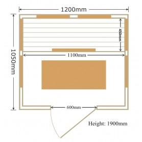 Infrared Sauna Glossy size: 1200 x 1050 x 1900 mm
