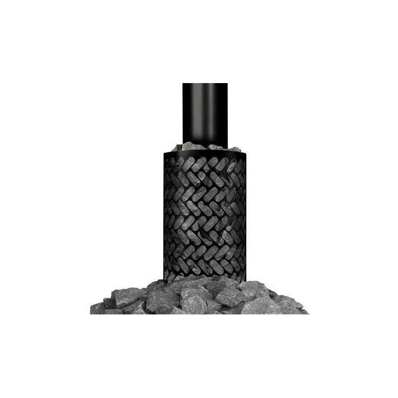 Accessories wood-fired sauna heater Stone basket black (round smoke pipe)