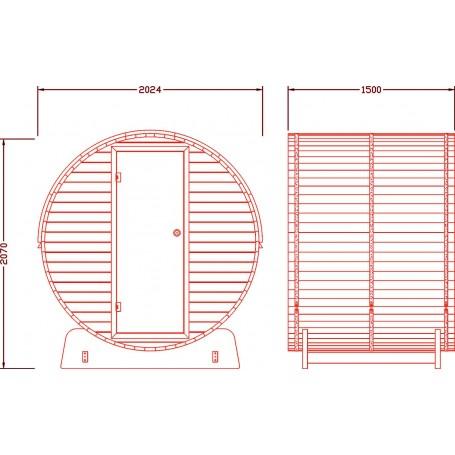 Outdoor sauna Infrared Sauna bar in Cedar wood with infrared heat Infra sauna thin for 3 people Size: 2024 x 1500 x 2070 m