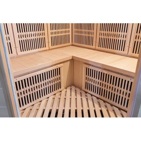Corner sauna Infrared Apollon Tourmaline Corner Hemlock Infra-sauna for 4 personsSize: 1500 x 1500 x 1900 mmWood: Hemlock