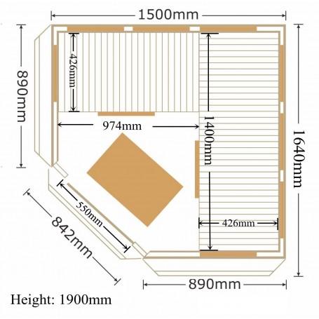 Corner sauna Infrared Apollon Tourmaline Corner Ceder Infra-sauna for 4 personsSize: 1500 x 1500 x 1900 mmWood: CederWarm