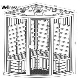 Outgoing products Corner sauna Wellness Cedar Outer dimensions: Length: 1550 mmHeight: 1980 mmWidth: 1550 mmDelivery time: 2-3 d