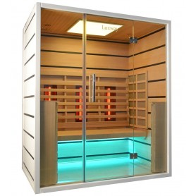 Sauna Infrared for 3-4 pers. Select 3 persons Infra-sauna for 3 personsSize: 1630 x 1050 x 1900 mmWood: Hem lidHeat