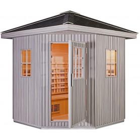 Outdoor Sauna Infrared Sauna Eden WPC Gray Infra Sauna for 5-6 peopleSize: 1800 x 1800 x 2500 mmWood: Hemlock + WPC T