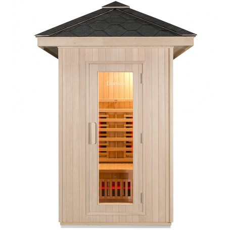 Excellent outdoor sauna in untreated wood for 2 people