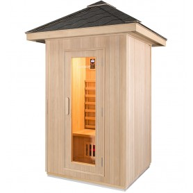 Outdoor sauna in Wood with gray shingle roof
