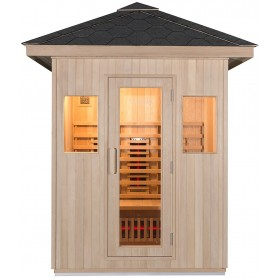 Airy infrared sauna with tempered glass door in frame, as well as two windows for a light sauna with nice views.