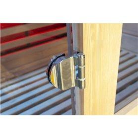 Chromed hinge for sauna door in tempered glass