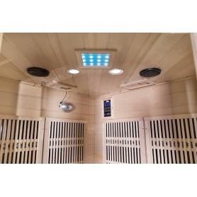 Cotnett Mini Hemlock corner sauna ceiling