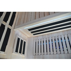 Infrared sauna with led lighting under bench